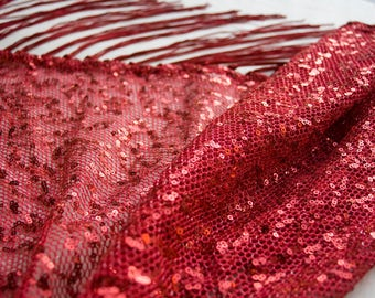 Red Sequin Fringe Hip Scarf - Shiny Red Tribal Fusion Bellydance Fringe shawl, flapper burlesque, ATS