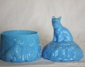 Akro Agate Scottie Dog Powder Jar Vanity slag glass with Akro Crow Great condition Scotty Dog Top Sides Robin Egg Teal Blue Perfect Gift