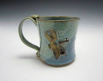 Large Ceramic Coffee Mug - Stoneware Mug - Gold Dragonfly - Blue Green - Pottery Mug - 14 oz ounces - Clay Mug - Water Theme - Coffee Cup