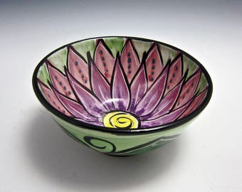 Small Ceramic Serving Bowl - Pink Purple Lotus Flower - Cereal Bowl - Majolica Pottery - Kitchen Prep Bowl - Mandala Pattern - Pottery Bowl