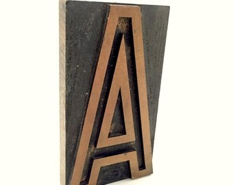 Vintage Printers Block Letter A - Letterpress Printing Blocks - Industrial Decor - Printing Press Custom Letter - Wood Alphabet Blocks
