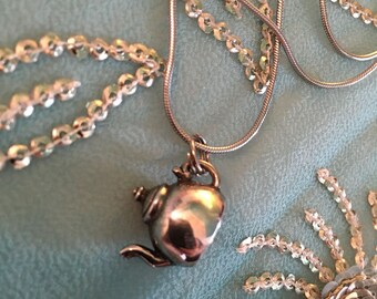 Tea Pot CHARM, Necklace, Silver, 925 STERLING Silver Tea Pot Charm, on Silver chain necklace, GIFT