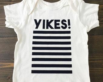 Yikes Stripes, Baby Tshirt, Black and White, Screen Printed Clothing