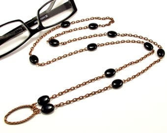 Women's Eyeglass Chain with Black Beads in Copper, Beaded Eyeglass Holder, Eyeglass Holder Necklace, Eyeglass Loop, Gift for HER, Readers