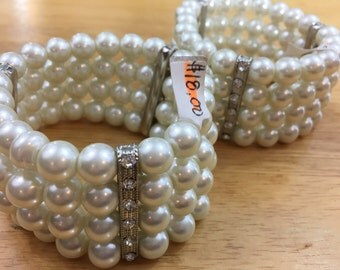 "CLEARANCE: 2 beautiful off-white glass pearl multi strand bracelets, wear as is or take apart, elastic, up to 7.5"" wrist"