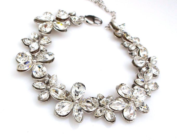 Wedding jewelry bridesmaid party gift bridal silver flower bracelet prom pageant swarovski clear white multi shape fancy rhinestone crystal