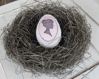 Pink Cameo Bird Nest with Hand Decorated Silhouette Egg