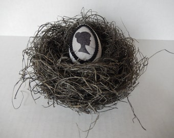 Gray Cameo Bird Nest with Hand Decorated Silhouette Egg