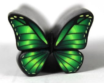 Raw Green Polymer Clay Butterfly Cane