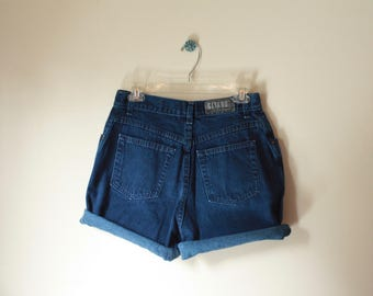 Vintage 90's Cool GITANO High Waist Dark Blue Jean Shorts 28 Medium