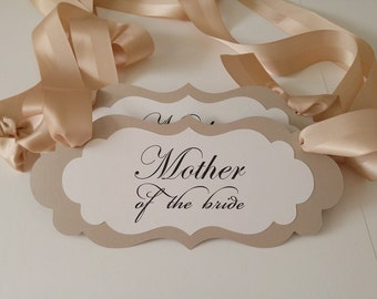 Bridal Shower Chair Sign with the Wording Mother of the Bride or Mother of the Groom