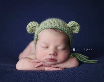 Hand Knit Bear Hat, Colorful baby hat, knitted baby hat, knit baby hat, newborn photo prop by Cream of the Prop