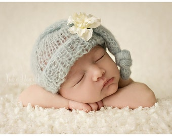 Knit Baby Hat, Photography Prop, Newborn Baby Hat, Newborn Photo Prop, Knit Photo prop, Photo Shoot Prop, Knotted Hat, Pick your colors