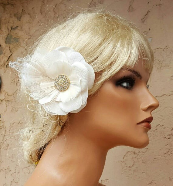 Ivory Flower Hair Clip Wedding: Ivory Flower Hair Clip Ivory Fascinator Wedding Hair Clip