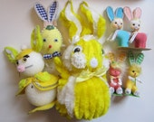 vintage EASTER decorations - some vintage handmade - bump chenille, felt, flocked - Easter bunnies, egg