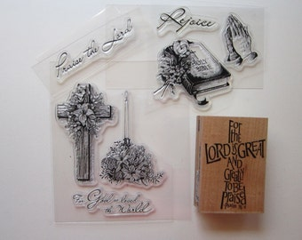 religious rubber stamps - clear acrylic and red rubber - for the Lord is Great, Praise the Lord stamp