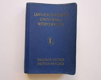 vintage book - Langenscheidt's DEUTSCH to ENGLISH  and English to Deutsch Dictionary - 1964 - travel size, pocket size