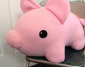 ON SALE for Valentine - Giant fleece pink pig stuffed animal or plushie