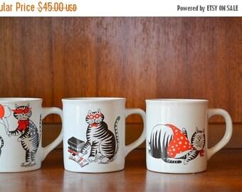 SALE 20% OFF vintage nevco cat mugs