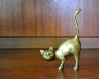 vintage brass cat figurine / brass home decor accents / metal kitty cat