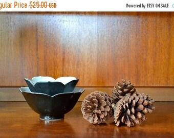 SALE 25% OFF vintage midcentury porcelain black lotus bowls / vintage breakfast bowls / halloween / mid century modern