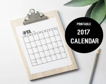 2017 PRINTABLE CALENDAR 12 month, PDF Instant Download, minimalist black and white