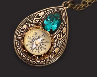 Bohemian Necklace Working Compass Pendant Compass Necklace