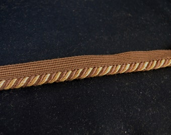Country Side Wenge Brown Gold Lip Cord Trim Fabric