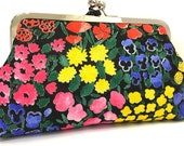 clutch purse - flowers - floral - black - red- yellow - blue - 8 inch metal frame clutch purse - large purse - kisslock