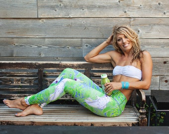 papagai leggings/ parrot jungle/women performance tights/ free shipping