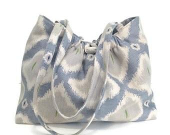 Large Knitting Bag Shoulder Bag Ikat Taupe Bag Blue Ikat Bag Knitter's Tote Upholstery Bag Knitting Project Bag Tote Bag Lined Bag