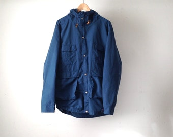 LL Bean oxford style 80s PARKA pacific northwest navy blue HOODED jacket coat