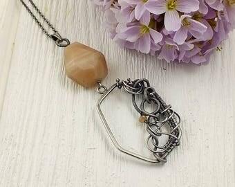 Wire wrap necklace, geometric modern jewelry, sterling silver jewelry, gemstone jewelry, peach necklace