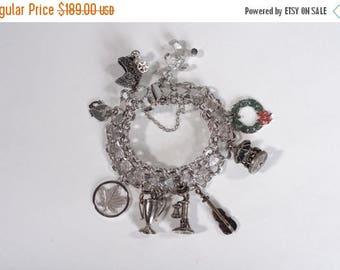 HALF PRICE SALE Vintage Sterling Silver Charm Bracelet - Beau Sterling - Holiday Gift For Her