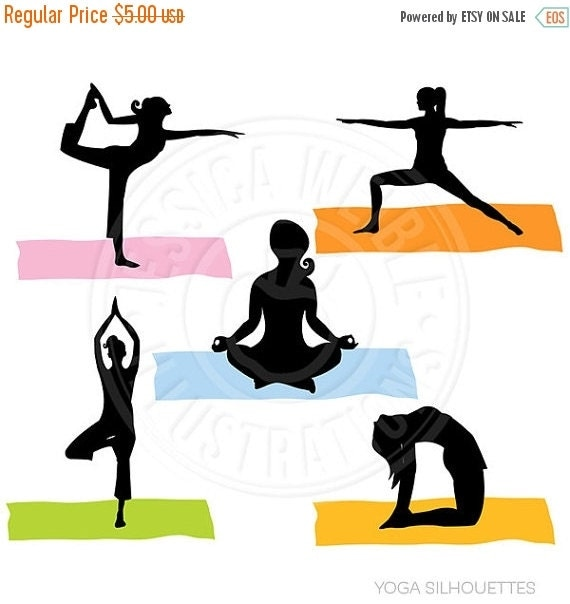 ON SALE Yoga Silhouettes Digital Clipart - Commercial Use Ok - Yoga Graphics, Yoga Clipart, Yoga Poses, Women, Fitness, Exercise