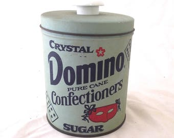 Domino Confectioner's Sugar Canister, Vintage Metal Container in Light Blue (G2)