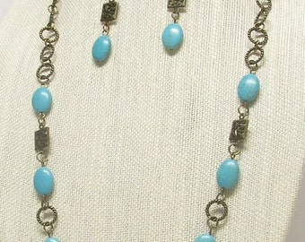 """35"""" Antique Brass and Turquoise Necklace Set #19892"""