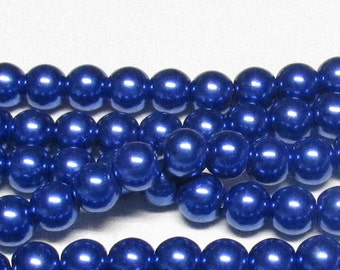 "10mm Navy-02 Glass Pearls-16"" strand navy pearls-navy blue"