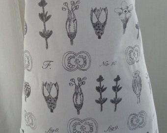 Full Apron, Bib Apron, Florist Apron, White and Grey,  IKEA, Botanical Images, Bridal Shower Gift