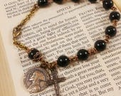 RESERVED for Nick C - Rugged Black Onyx Rosary Bracelet 8 3/4""