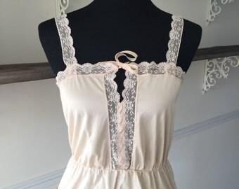Vintage edwardian camisole chemise braket victorian atyle blush pink nude ecru size small 70s ALICE
