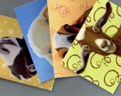 Goat Cards - Goat Note Cards 4-pack - Goat Art - Assorted Goat Cards - Proceeds Benefit Animal Charity