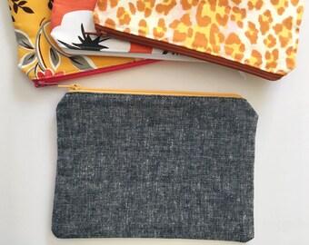 Linen Zipper Pouch, Small Gray Clutch, Small Zipper Bag, Linen Makeup Pouch, Small Gift Under 20, Personalized Makeup Bag, Linen Pouch
