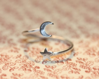Sterling Silver Moon and stars ring