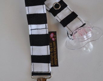 Baby Girl Black & White Stripe Soother/Pacifer Clip with Pink Clip