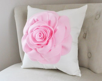 Rose Applique Pillow Light Pink on Cream Pillow 16x16 Perfect for Any Occasion