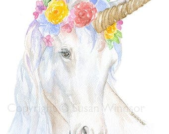 Unicorn Floral Crown Watercolor Painting 4 x 6 - Giclee Print Reproduction - Woodland Animals - Girls Room Nursery Decor