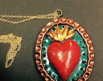 El Sagrado Corazon sacred heart polymer clay pendant necklace