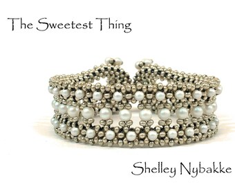 The Sweetest Thing  Bracelet DIY Kit  -  Matte Silver/Pearlescent White Pearls
