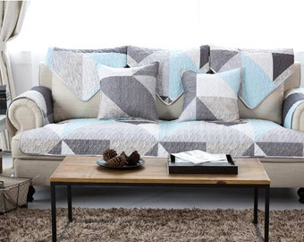 Blue Grey Geometric Sofa Cover Abstract Triangles White Couch Slipcover Loveseat Cover Cotton White Home Decor